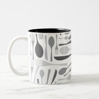 Fork and Knives Kitchen Chef Pattern Grey Two-Tone Coffee Mug