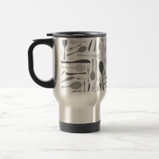 Fork and Knives Kitchen Chef Pattern Grey Travel Mug