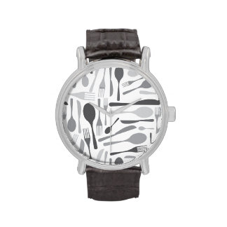 Fork and Knives Kitchen Chef Pattern Grey Wristwatches