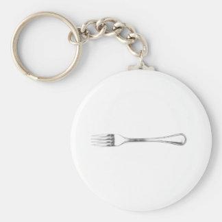 Fork Art Basic Round Button Keychain
