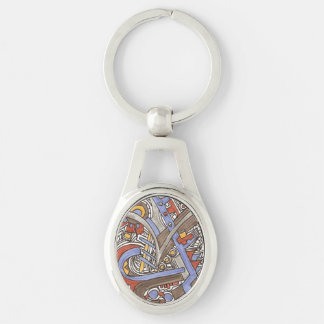 Fork In The Road - Abstract Art Ink Drawing Silver-Colored Oval Metal Keychain
