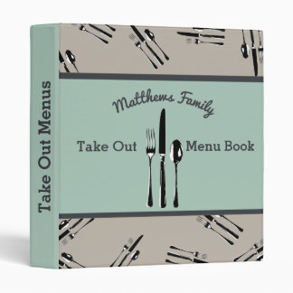 Fork, Knife and Spoon Take Out Menu Book 3 Ring Binder