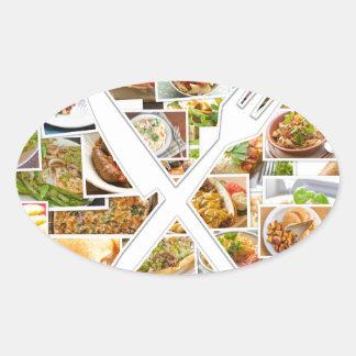Fork Knife Foods Oval Sticker