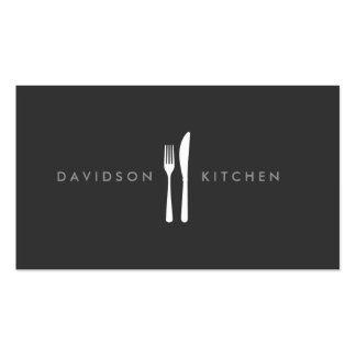 Fork & Knife Logo 2 for Chef, Foodie, Restaurant Double-Sided Standard Business Cards (Pack Of 100)