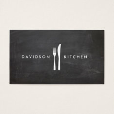 Fork & Knife Logo 3 For Chef, Foodie, Restaurant Business Card at Zazzle