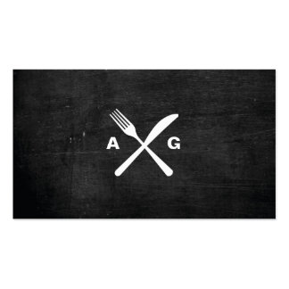 FORK & KNIFE LOGO MONOGRAM No. 2 on BLACK WOOD Double-Sided Standard Business Cards (Pack Of 100)