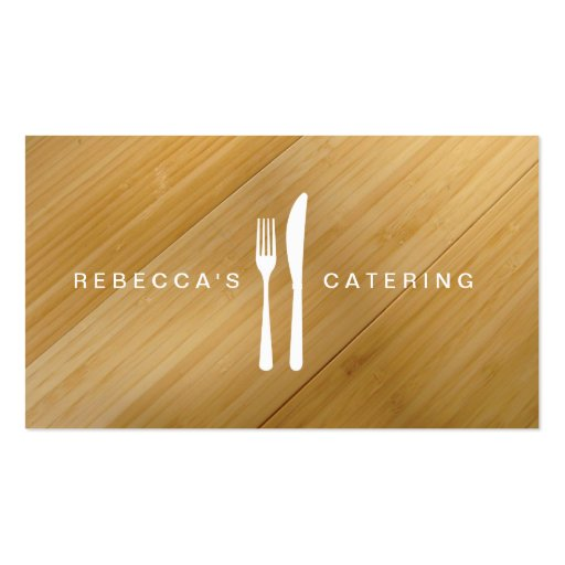 Fork Knife Logo On Bamboo Wood Business Card Zazzle