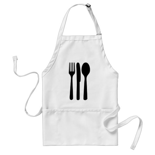 fork knife spoon icon adult apron