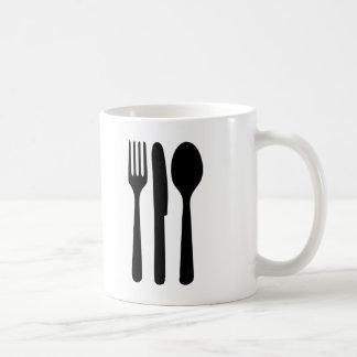 fork knife spoon icon classic white coffee mug
