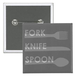 Fork Knife Spoon Pinback Button