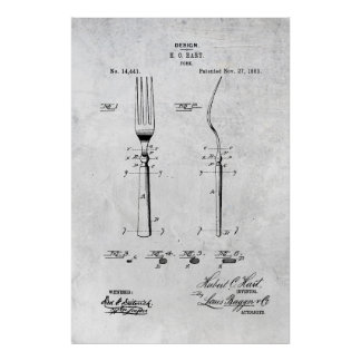 Fork Patent Print 1883 Poster