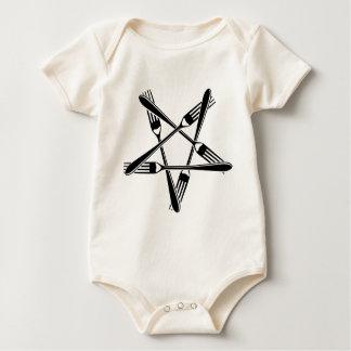 Fork Pentagram (black) Baby Bodysuit