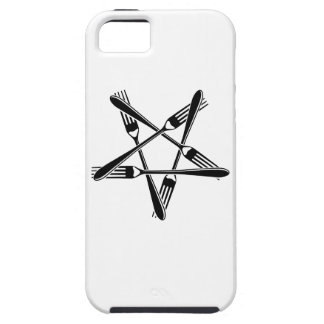 Fork Pentagram (black) iPhone 5 Cases