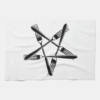 Fork Pentagram black Kitchen Towels