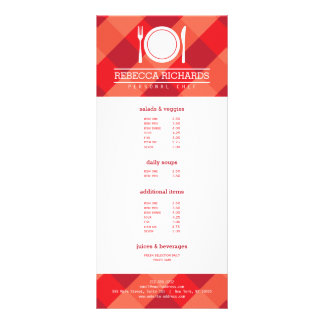 Fork, Plate, Knife Logo on Red Gingham Menu Flyer Full Color Rack Card