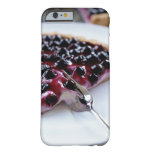 Fork slicing blueberry pie on plate barely there iPhone 6 case