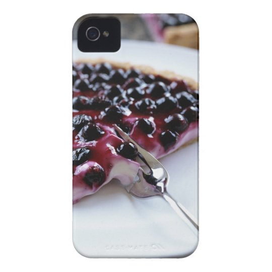 Fork slicing blueberry pie on plate iPhone 4 cover