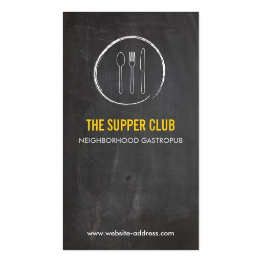 FORK SPOON KNIFE CHALKBOARD LOGO 2 for Restaurant Business Card Templates (front side)
