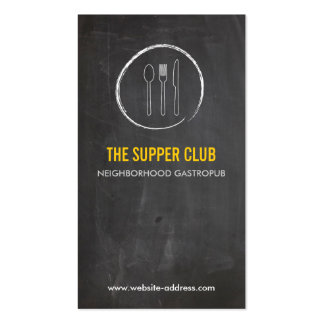 FORK SPOON KNIFE CHALKBOARD LOGO 2 for Restaurant Double-Sided Standard Business Cards (Pack Of 100)
