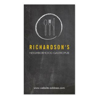 FORK SPOON KNIFE CHALKBOARD LOGO 3 for Restaurant Business Card