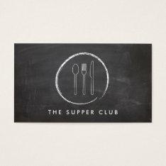 Fork Spoon Knife Chalkboard Logo For Restaurant Business Card at Zazzle