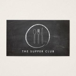 FORK SPOON KNIFE CHALKBOARD LOGO for Restaurant Business Card