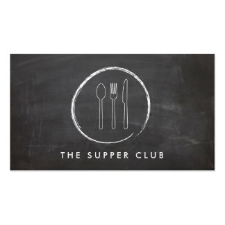 FORK SPOON KNIFE CHALKBOARD LOGO for Restaurant... Double-Sided Standard Business Cards (Pack Of 100)