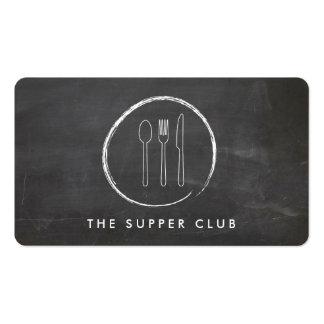 FORK SPOON KNIFE CHALKBOARD LOGO on Chalkboard Double-Sided Standard Business Cards (Pack Of 100)
