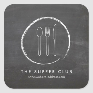 FORK SPOON KNIFE CHALKBOARD LOGO Stickers