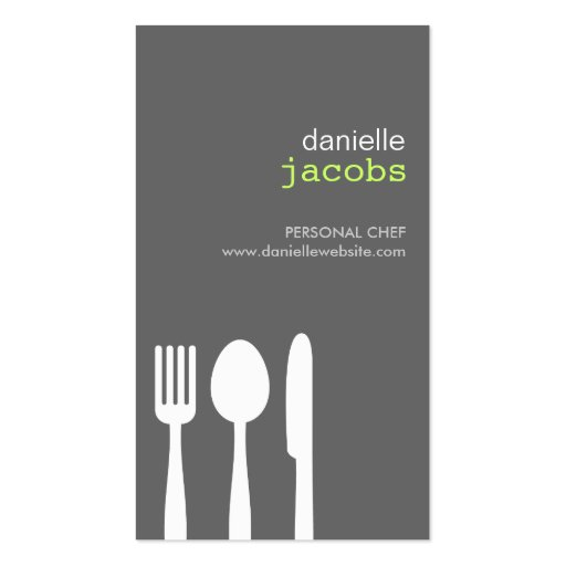 FORK SPOON KNIFE in GRAY Business Card (front side)
