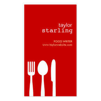 FORK SPOON KNIFE in RED Double-Sided Standard Business Cards (Pack Of 100)