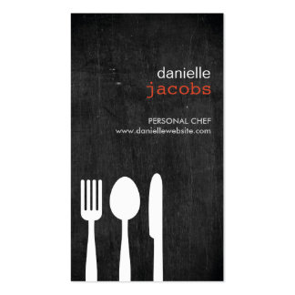 FORK SPOON KNIFE on WOODGRAIN Double-Sided Standard Business Cards (Pack Of 100)