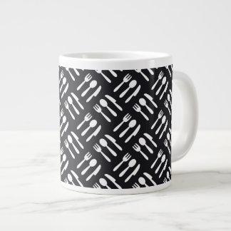 Fork spoon knife pattern large coffee mug