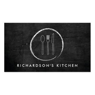 FORK SPOON KNIFE SKETCH LOGO for Catering, Chef... Double-Sided Standard Business Cards (Pack Of 100)