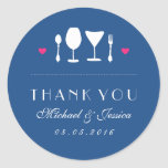 Fork Spoon Royal Blue Wedding Thank You Sticker