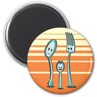 Fork + Spoon= Spork 2 Inch Round Magnet