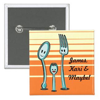 Fork + Spoon= Spork 2 Inch Square Button