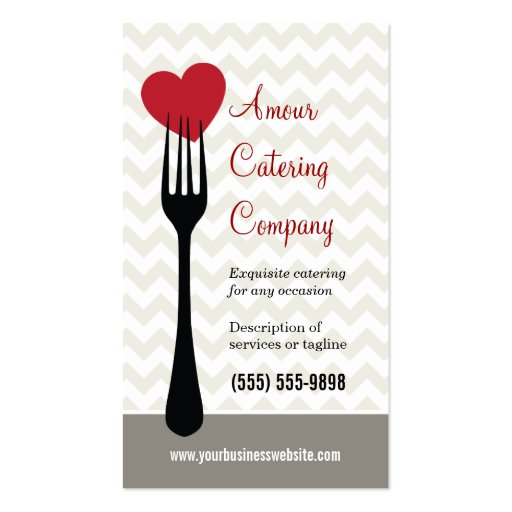 Catering company business card templates bizcardstudio forked heart restaurantcatering business card reheart Image collections