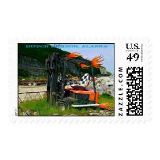 Forklift Metal Sculpture in Dutch Harbor, Alaska Stamp