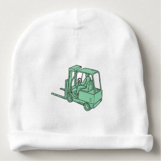 Forklift Truck Operator Mono Line Baby Beanie