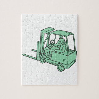 Forklift Truck Operator Mono Line Jigsaw Puzzle