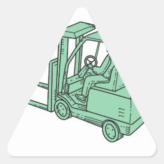 Forklift Truck Operator Mono Line Triangle Sticker