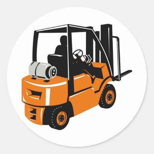 Forklift Truck Retro Round Sticker Zazzle
