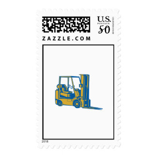 Forklift Truck Side Woodcut Postage
