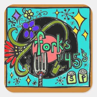 forks n 45's square sticker
