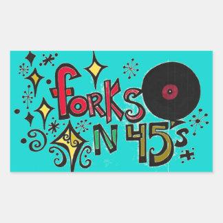 forks n forty fives rectangular sticker