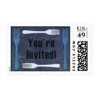 Forks You're Invited Dinner Party Postage