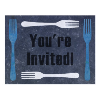 Forks You're Invited Dinner Party Postcard