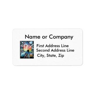 Forlorn Figure Colorful Universe Cross Custom Address Labels