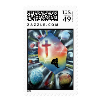 Forlorn Figure Colorful Universe Cross Postage Stamps